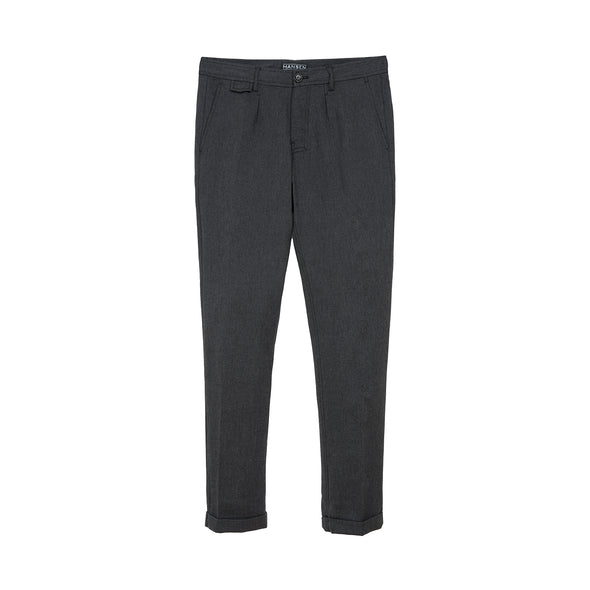 Hansen | 'Frank' Regular Fit Trousers Graphite - Concrete