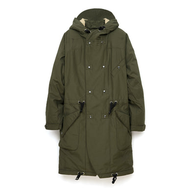 Hansen | 'Bjarne' Hooded Wool Lined Coat Tech Army - Concrete
