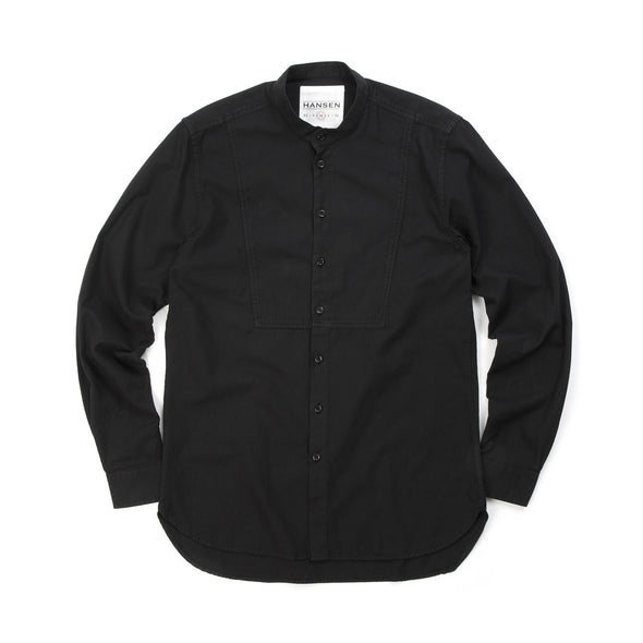 Hansen | 'Valmar' Collarless Bib Shirt Black - Concrete