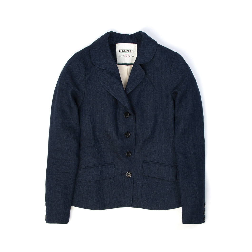 Hansen W Lena Long Sleeved Blazer Unconstructed Navy Delave - Concrete