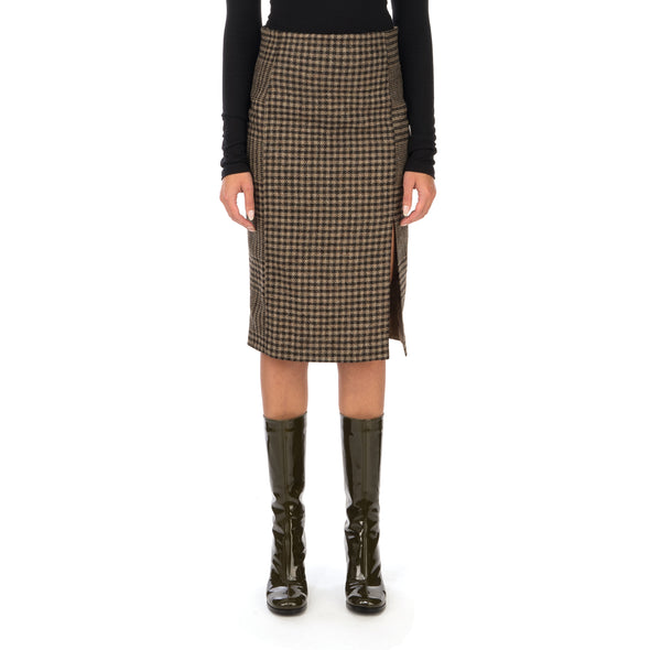Hope | Pipe Skirt Beige Duo Check - Concrete