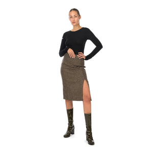 Hope | Pipe Skirt Beige Duo Check
