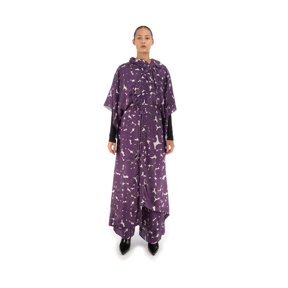 Hope Frill Silk Kaftan Purple Sweep - Concrete
