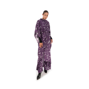 Hope Frill Silk Kaftan Purple Sweep