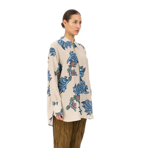 Hope | Mantra Shirt Blue Paisley Print - Concrete