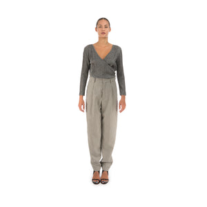 Hope Star Trousers Black Pepita Check - Concrete