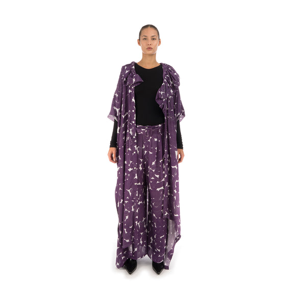 Hope Studio Silk Trousers Purple Sweep Print