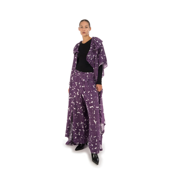 Hope Studio Silk Trousers Purple Sweep Print - Concrete