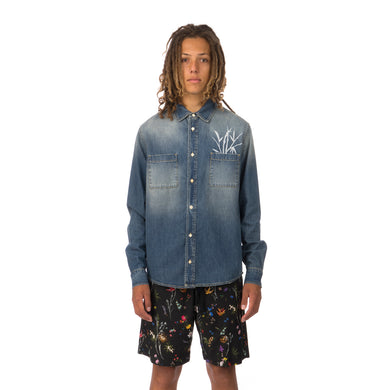 IH NOM UH NIT | Bamboo Print Shirt Denim Blue - Concrete