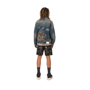 IH NOM UH NIT | Tiger Print Jacket Denim Blue - Concrete
