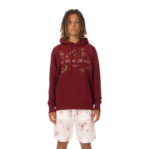 IH NOM UH NIT | Embroidered Koi Fish Hoodie Deep Red - Concrete
