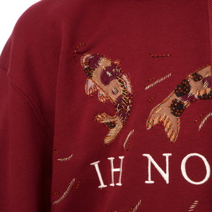 IH NOM UH NIT | Embroidered Koi Fish Hoodie Deep Red