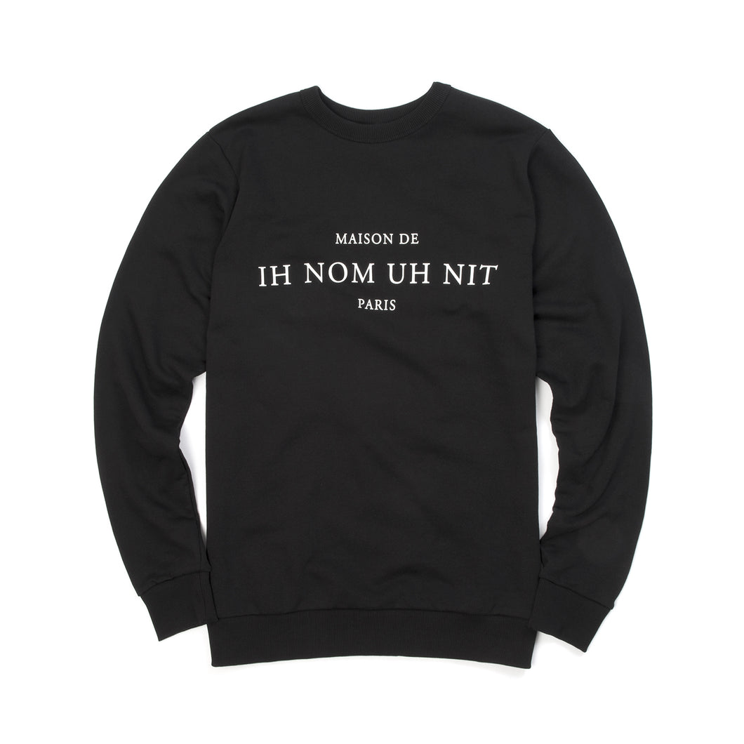 IH NOM UH NIT 'Text' Sweatshirt Black