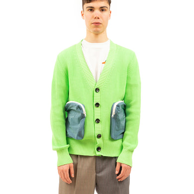 LC23 | Cotton/Nylon Cardigan Neon Green