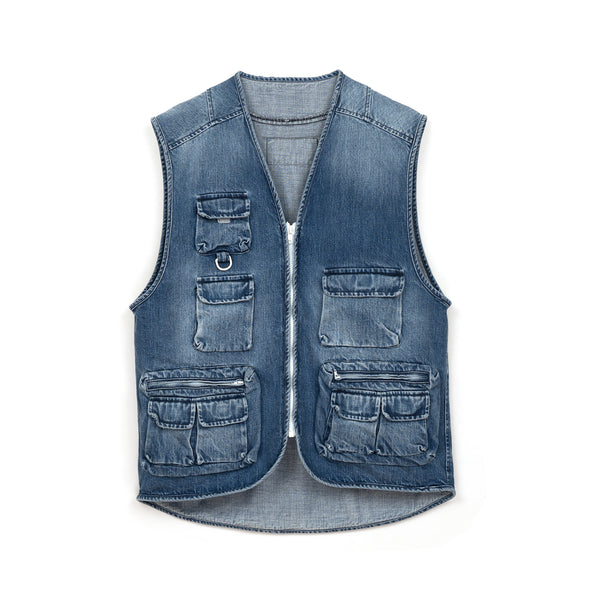 LC23 | Multitasca Denim Gilet Blue - Concrete