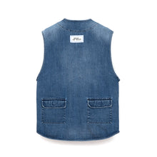 Load image into Gallery viewer, LC23 Multitasca Denim Gilet Blue