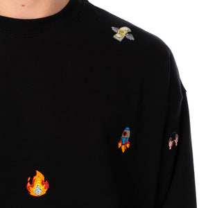 LC23 | Emoji Multi Embroidered Sweatshirt Black