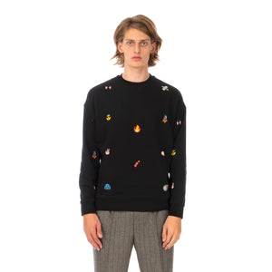 LC23 | Emoji Multi Embroidered Sweatshirt Black - Concrete