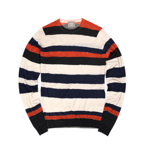 Lou Dalton | x John Smedley Hand Drawn Stripe Crew Red/Navy - Concrete