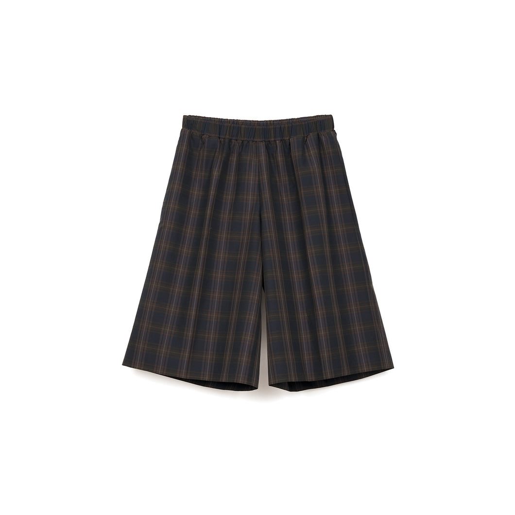 Lou Dalton Boxer Wide Leg Shorts Brown Check