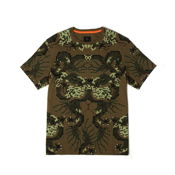 maharishi | Pixel Panther Slouch T-Shirt Maha Olive - Concrete