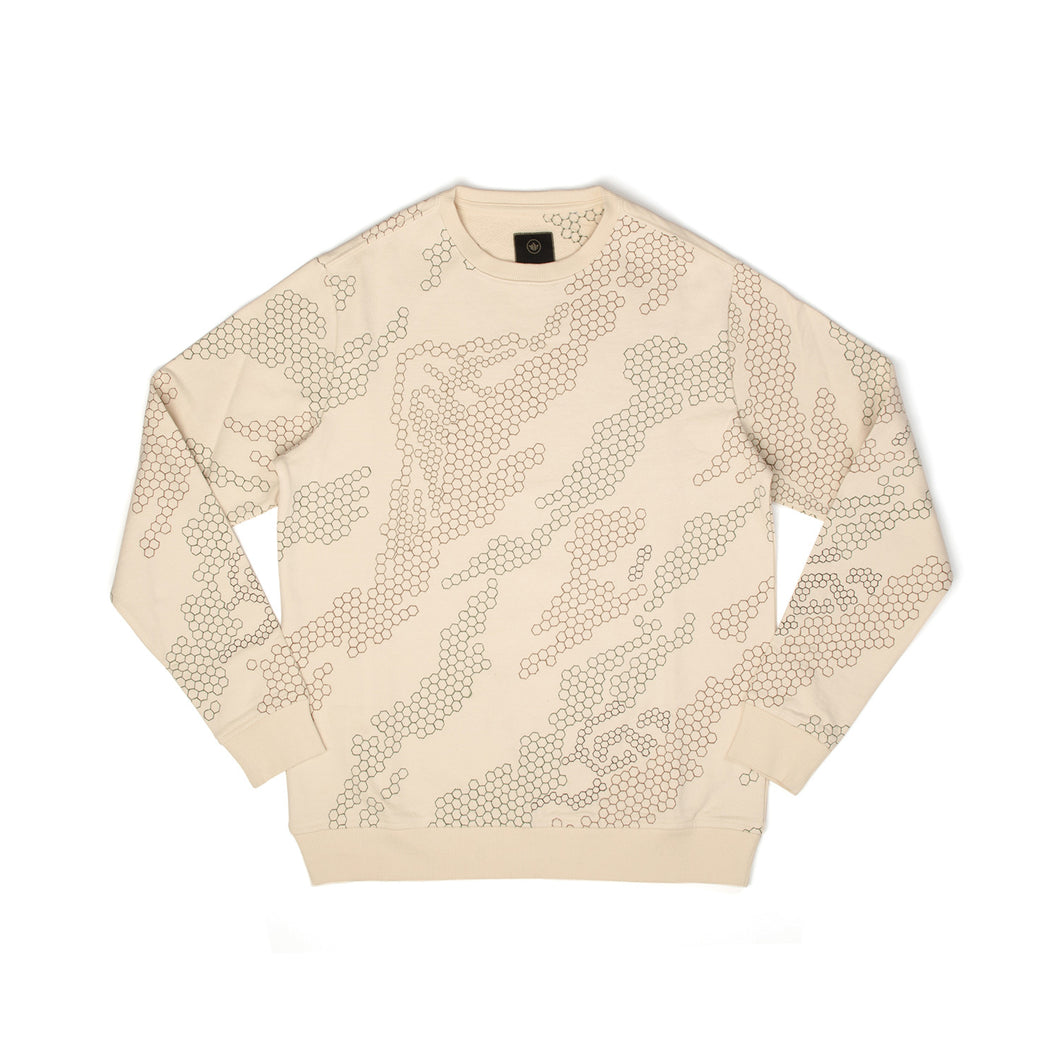 maharishi | Hex Crew Sweat Afghan Cream - Concrete