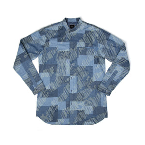 maharishi Patchiwaku Kurta Moa Collar Shirt Blue - Concrete
