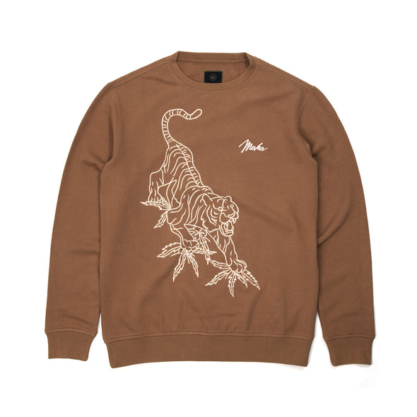 maharishi | Line Tiger Crew Sweat Golden Brown - Concrete