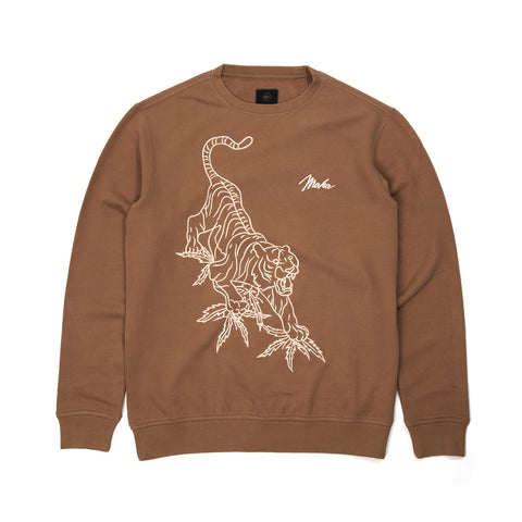 maharishi Line Tiger Crew Sweat Golden Brown - Concrete