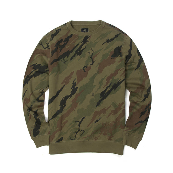 maharishi | Camo Red Tiger Crew Sweat Woodland - Concrete