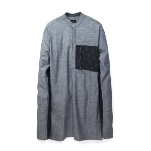 maharishi | Long Kurta Shirt Chambray Indigo - Concrete