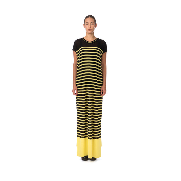 Marios W Striped Sleeveless Long Dress Black/Yellow - Concrete
