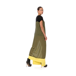 Marios W Striped Sleeveless Long Dress Black/Yellow