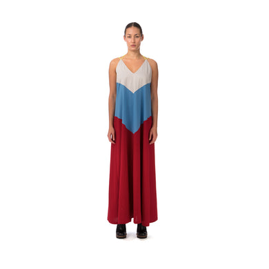 Marios Patchwork Long Decollete Dress Multicolor - Concrete