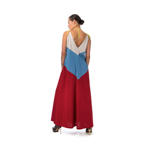 Marios Patchwork Long Decollete Dress Multicolor