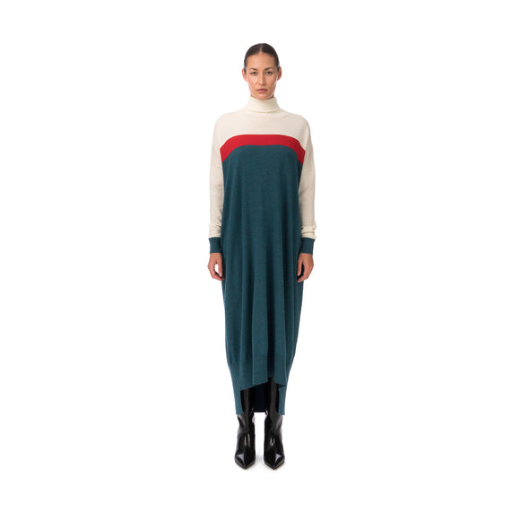 Marios Multicolor Maxi J-Dress White / Red / Petrol Blue - Concrete