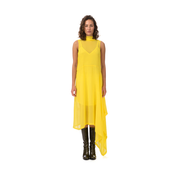 Marios Asymmetric Dress + Under Vest Yellow - Concrete