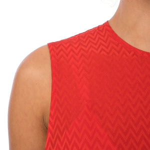 Marios Asymmetric Dress w/ Seperate Sleeves Red - Concrete