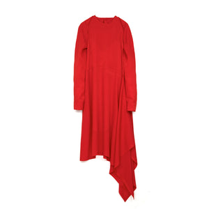 Marios Asymmetric Dress w/ Seperate Sleeves Red