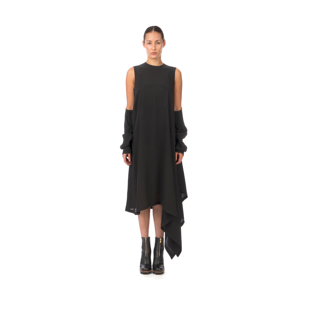 Marios Asymmetric Dress w/ Seperate Sleeves Black - Concrete