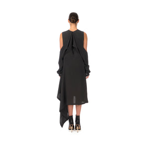 Marios Asymmetric Dress w/ Seperate Sleeves Black