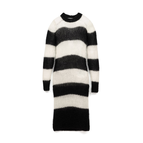 Marios Striped Dress White / Black
