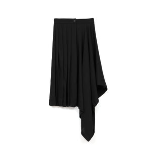 Marios Asymmetric Skirt w. Plisse Black