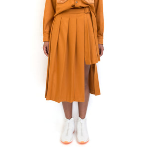 Marios Asymmetric Double Kilt Orange
