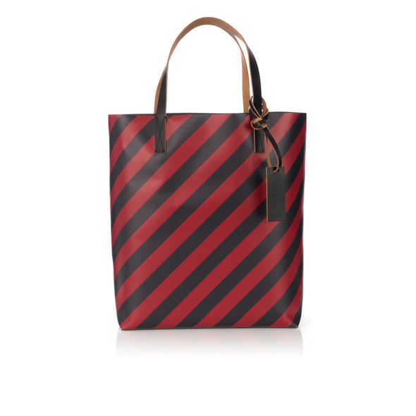 Marni | Warning Stripe North-South Shopping Bag Black / Red - Concrete