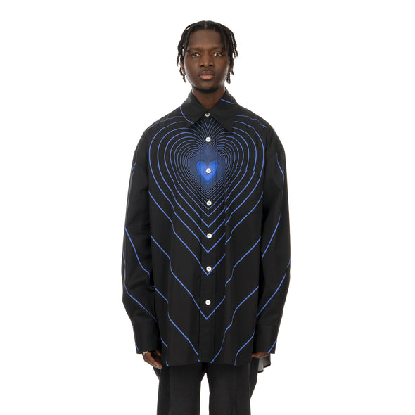 Marni | Oversized Infinity Heart Shirt Black / Blue Stripe