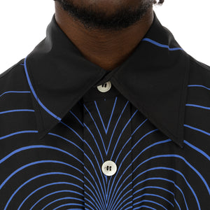 Marni | Oversized Infinity Heart Shirt Black / Blue Stripe - Concrete