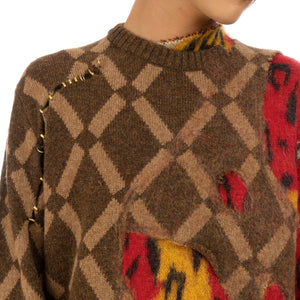 Marni Roundneck Sweater Brown / Red - GCMG0085QX