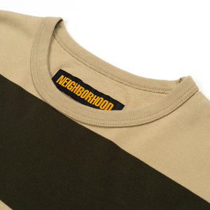 NEIGHBORHOOD | 'B.D.' C-Crew L/S Olive Drab - Concrete