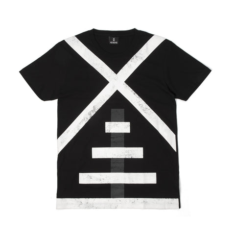 NEWAMS Mill White On Black T-Shirt Black
